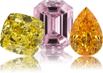 Yellow, pink and orange colored diamonds