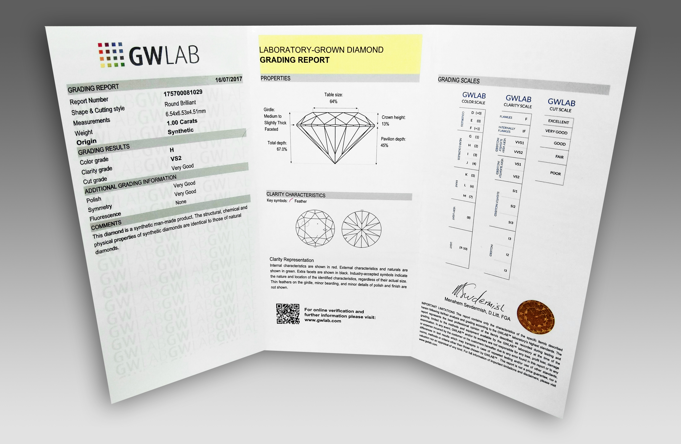 GWLAB Laboratory-Grown Diamond Grading Report - Inner Side