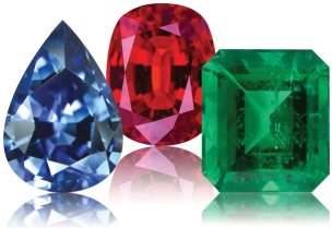 Sapphire, ruby and emerald gems